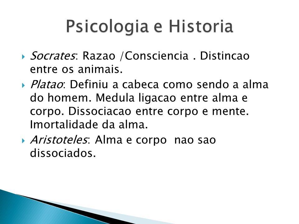 Socrates: Razao /Consciencia. Distincao entre os animais. Platao: Definiu a cabeca como sendo a alma do homem. Medula ligacao entre alma e corpo. Diss