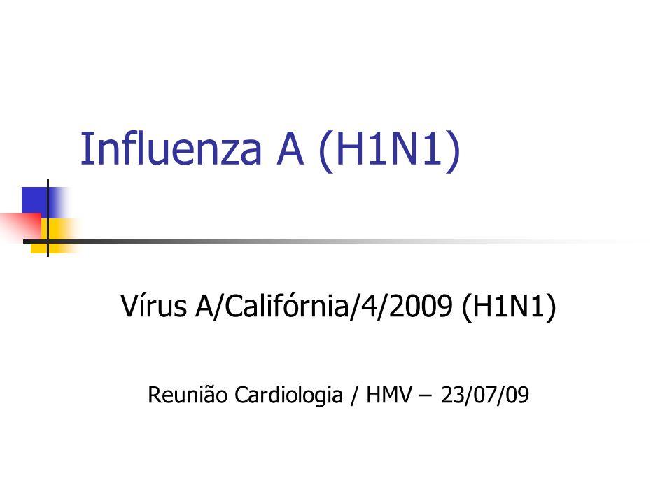 Influenza A (H1N1) Vírus A/Califórnia/4/2009 (H1N1) Reunião Cardiologia / HMV – 23/07/09