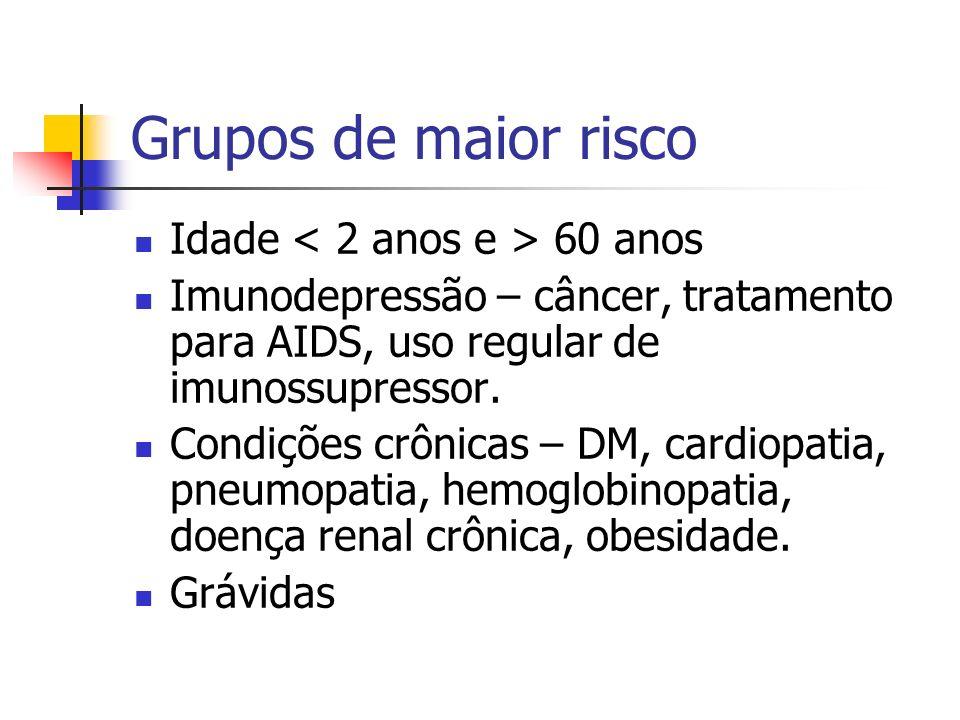 Grupos de maior risco Idade 60 anos Imunodepressão – câncer, tratamento para AIDS, uso regular de imunossupressor. Condições crônicas – DM, cardiopati