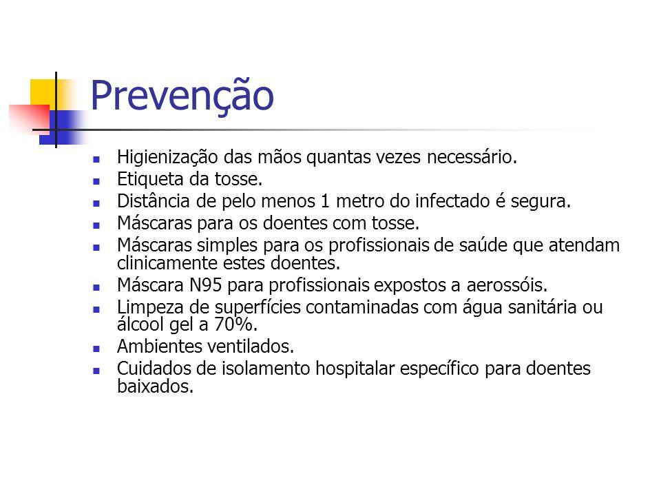 Prevenção Higienização das mãos quantas vezes necessário. Etiqueta da tosse. Distância de pelo menos 1 metro do infectado é segura. Máscaras para os d