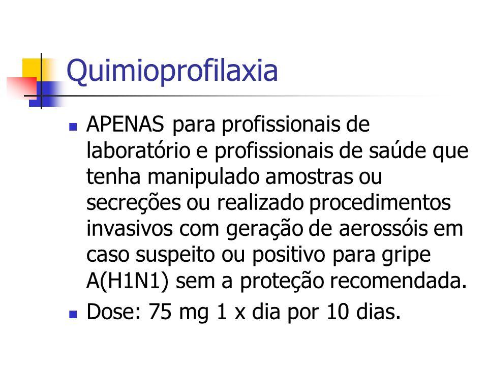 Quimioprofilaxia APENAS para profissionais de laboratório e profissionais de saúde que tenha manipulado amostras ou secreções ou realizado procediment
