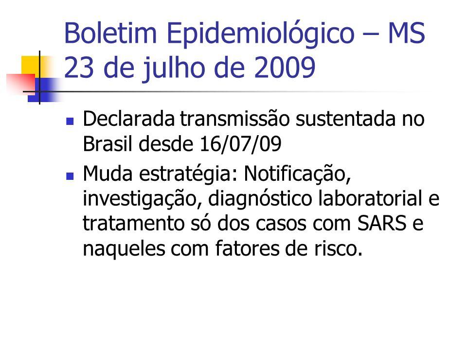 Boletim Epidemiológico – MS 23 de julho de 2009 Declarada transmissão sustentada no Brasil desde 16/07/09 Muda estratégia: Notificação, investigação,