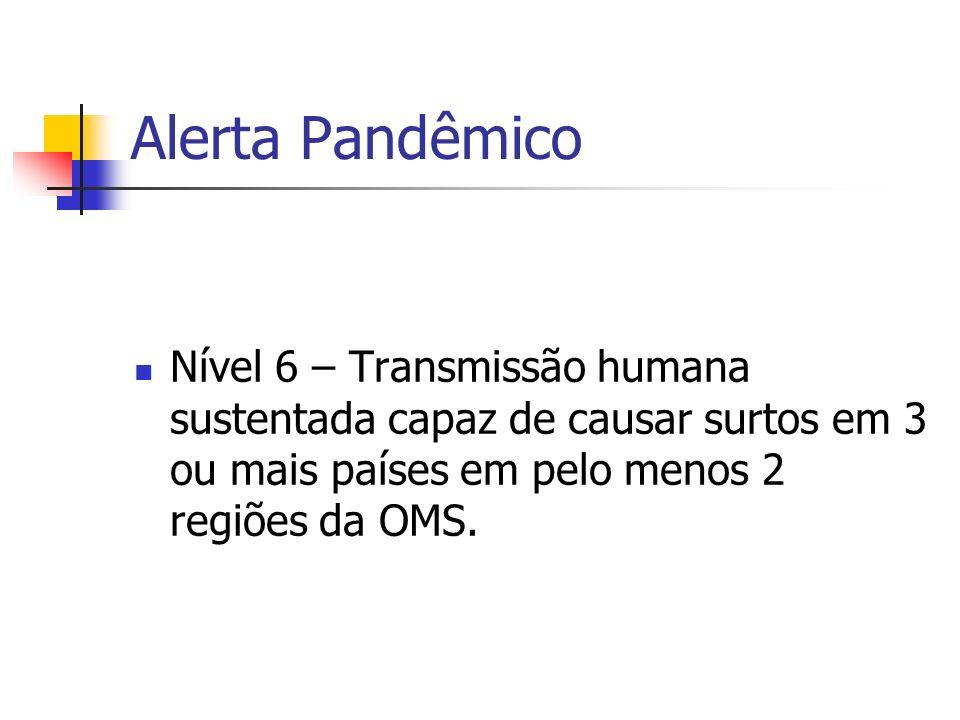 Alerta Pandêmico Nível 6 – Transmissão humana sustentada capaz de causar surtos em 3 ou mais países em pelo menos 2 regiões da OMS.