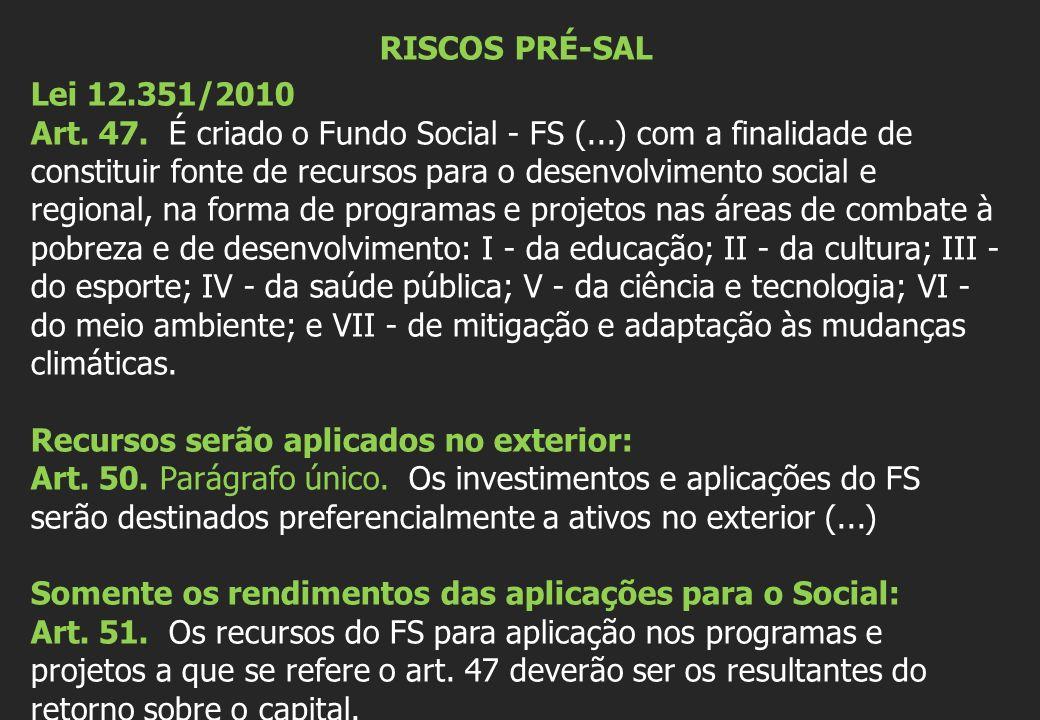 RISCOS PRÉ-SAL Lei 12.351/2010 Art. 47.
