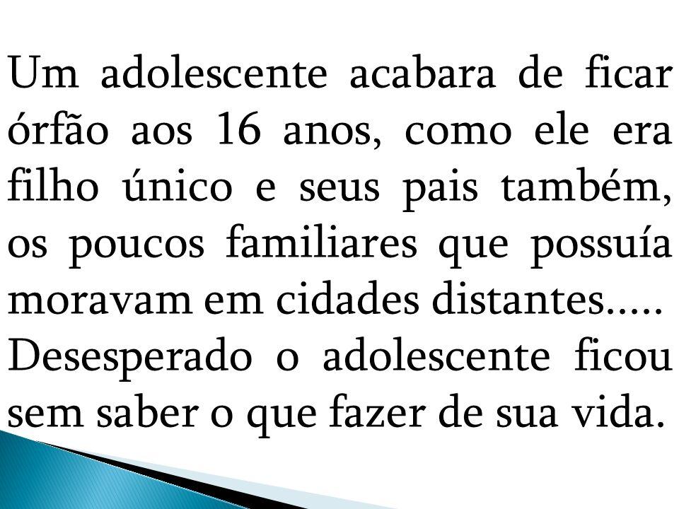 Um adolescente acabara de ficar órfão aos 16 anos, como ele era filho único e seus pais também, os poucos familiares que possuía moravam em cidades di