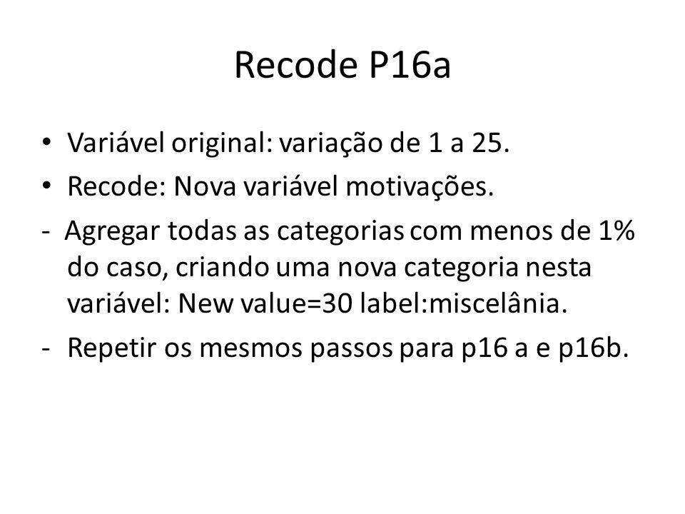Recode P16a Variável original: variação de 1 a 25.