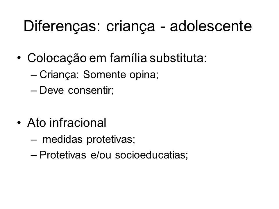Diferenças: criança - adolescente Colocação em família substituta: –Criança: Somente opina; –Deve consentir; Ato infracional – medidas protetivas; –Pr