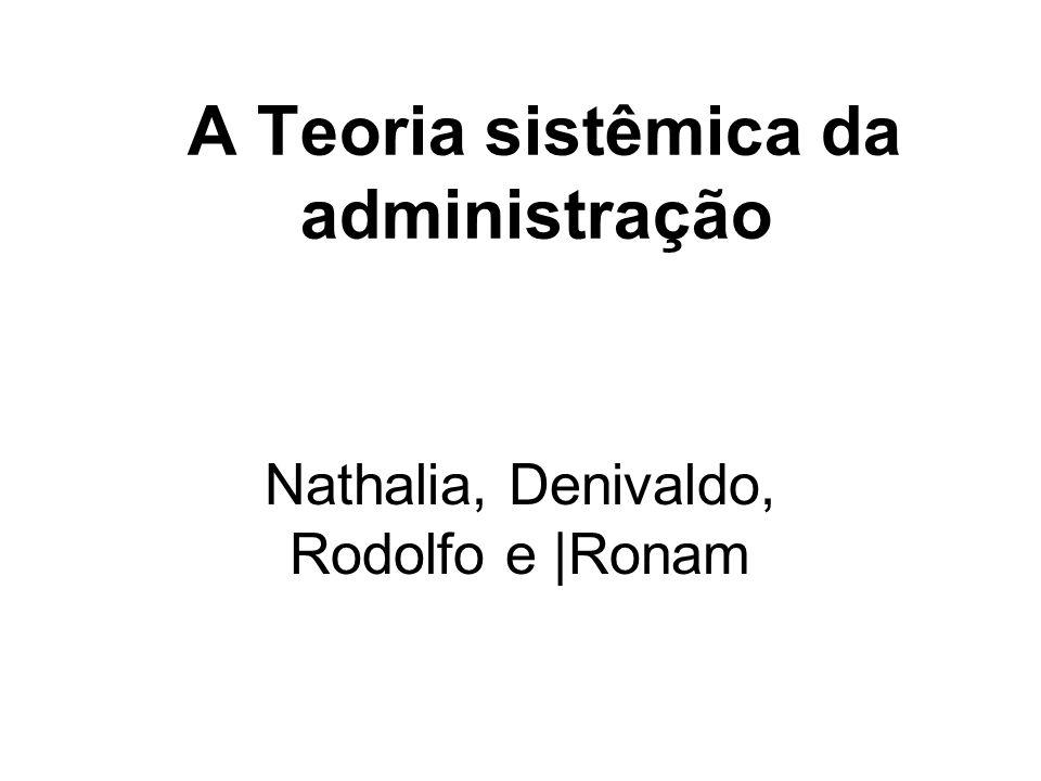A Teoria sistêmica da administração Nathalia, Denivaldo, Rodolfo e |Ronam