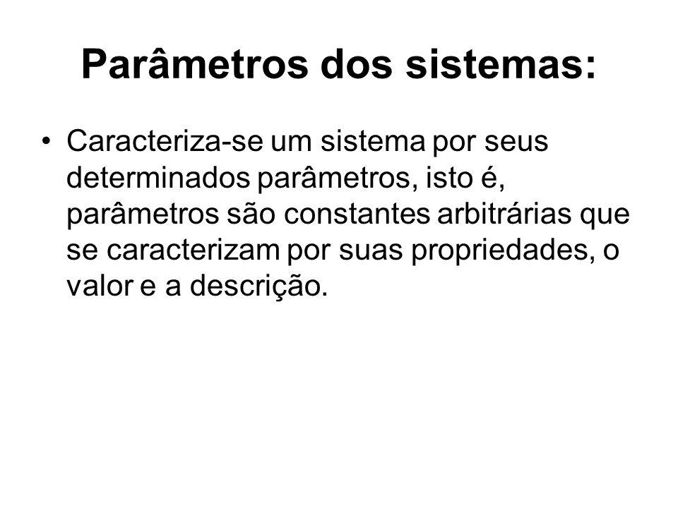 Parâmetros dos sistemas: Caracteriza-se um sistema por seus determinados parâmetros, isto é, parâmetros são constantes arbitrárias que se caracterizam