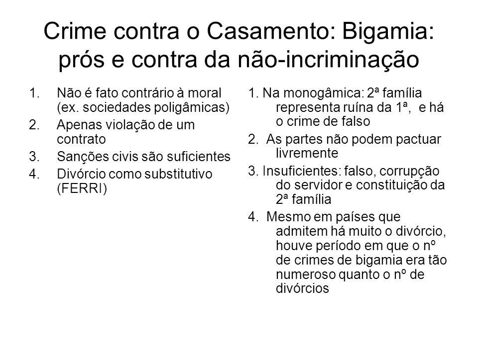 Crime contra o Casamento: Bigamia: prós e contra da não-incriminação 1.Não é fato contrário à moral (ex. sociedades poligâmicas) 2.Apenas violação de