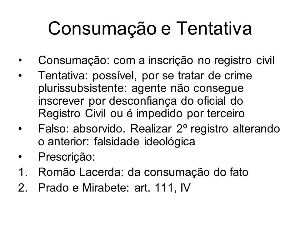 Consumação e Tentativa Consumação: com a inscrição no registro civil Tentativa: possível, por se tratar de crime plurissubsistente: agente não consegu