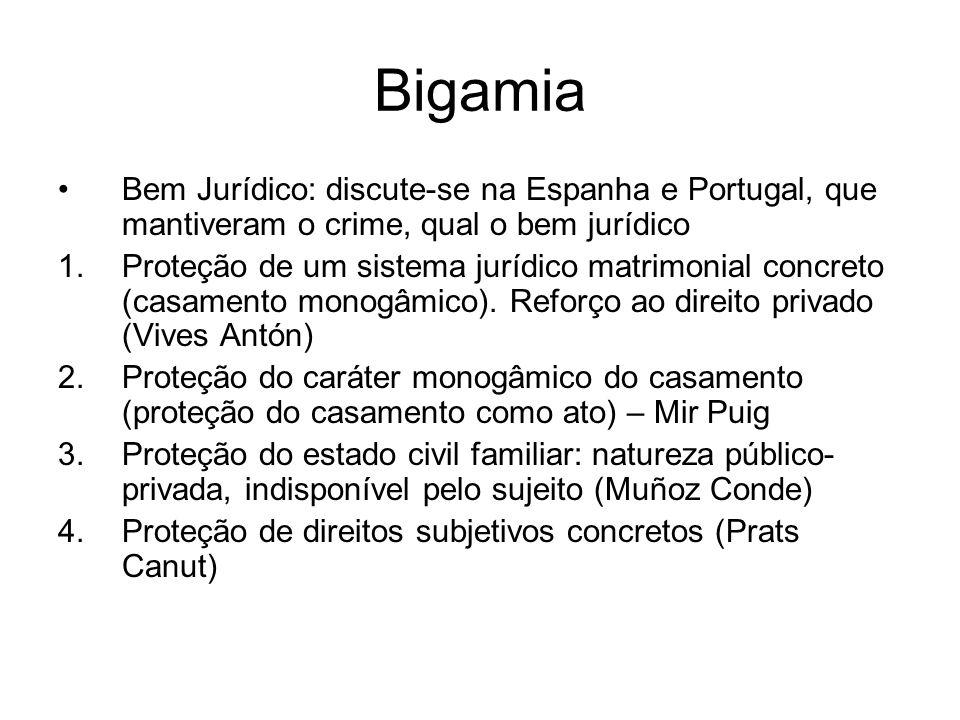 Bigamia Bem Jurídico: discute-se na Espanha e Portugal, que mantiveram o crime, qual o bem jurídico 1.Proteção de um sistema jurídico matrimonial conc