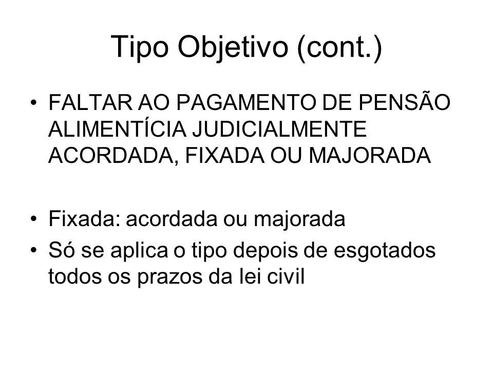 Tipo Objetivo (cont.) FALTAR AO PAGAMENTO DE PENSÃO ALIMENTÍCIA JUDICIALMENTE ACORDADA, FIXADA OU MAJORADA Fixada: acordada ou majorada Só se aplica o