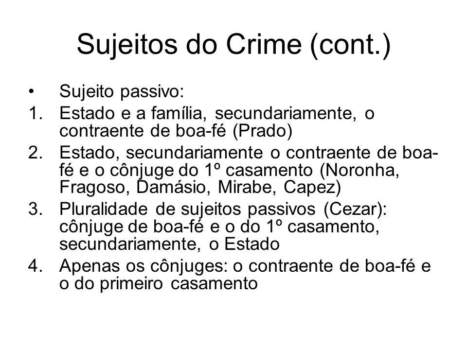 Sujeitos do Crime (cont.) Sujeito passivo: 1.Estado e a família, secundariamente, o contraente de boa-fé (Prado) 2.Estado, secundariamente o contraent