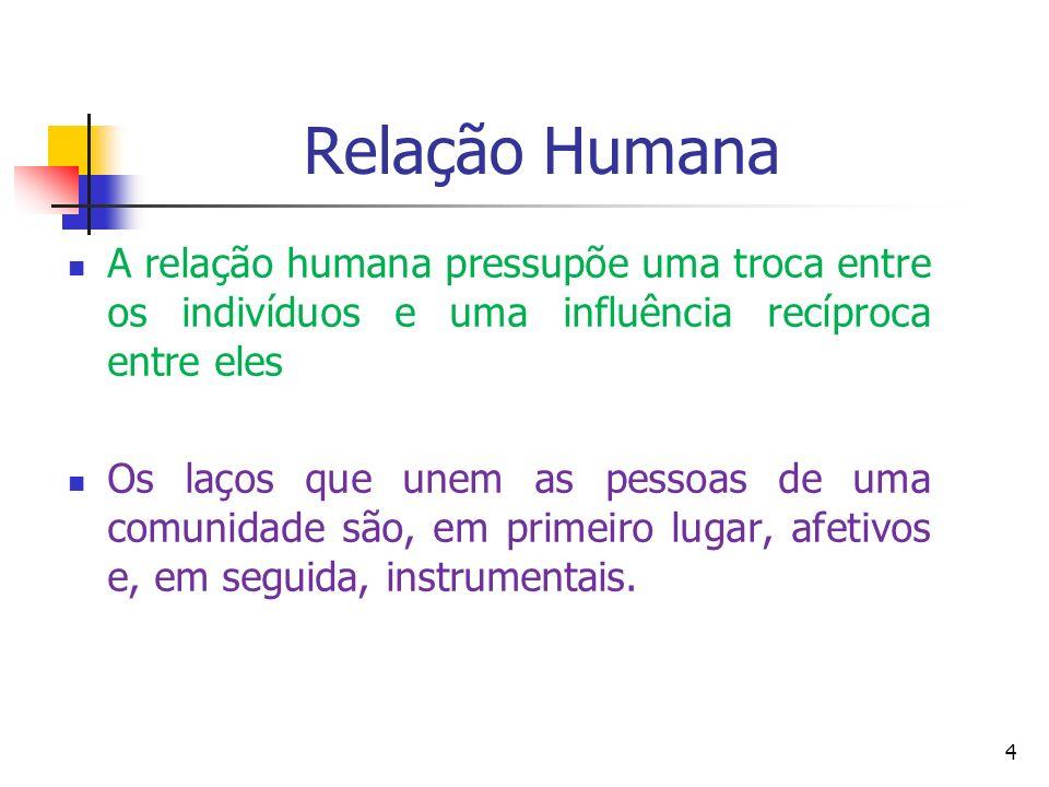 Relação Humana A relação humana pressupõe uma troca entre os indivíduos e uma influência recíproca entre eles Os laços que unem as pessoas de uma comu