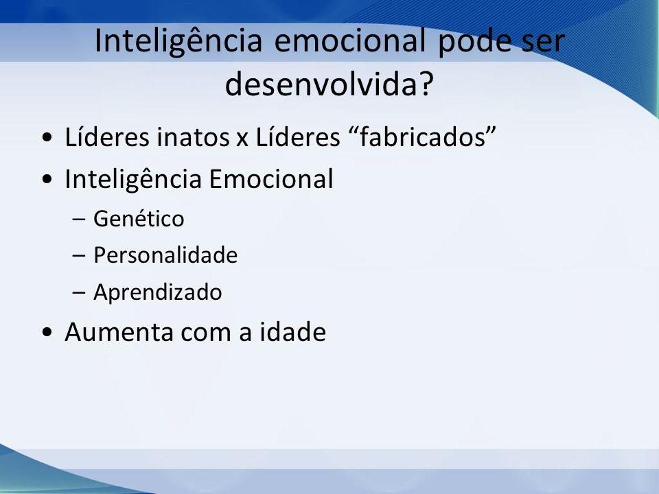 Inteligência emocional pode ser desenvolvida? Líderes inatos x Líderes fabricados Inteligência Emocional –Genético –Personalidade –Aprendizado Aumenta