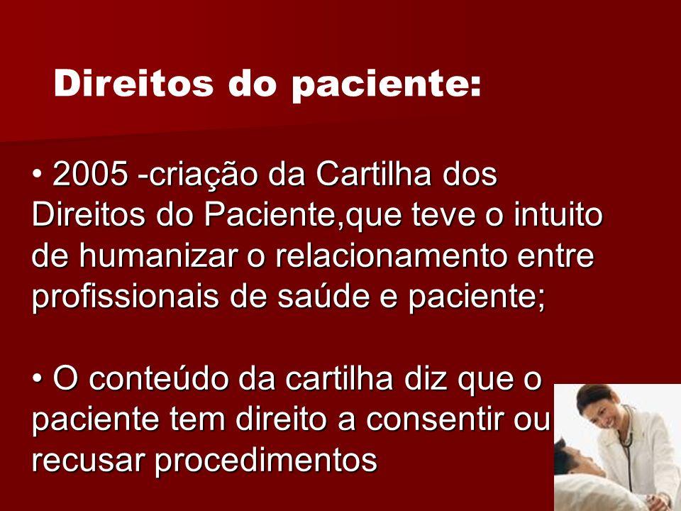 2005 -criação da Cartilha dos Direitos do Paciente,que teve o intuito de humanizar o relacionamento entre profissionais de saúde e paciente; O conteúd