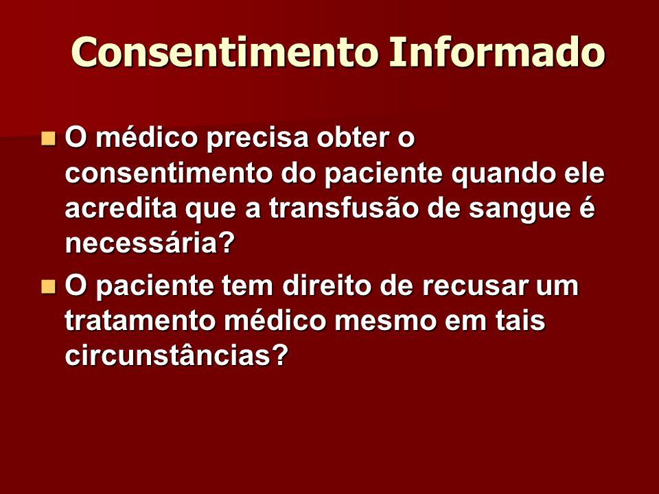 Consentimento Informado O médico precisa obter o consentimento do paciente quando ele acredita que a transfusão de sangue é necessária? O médico preci