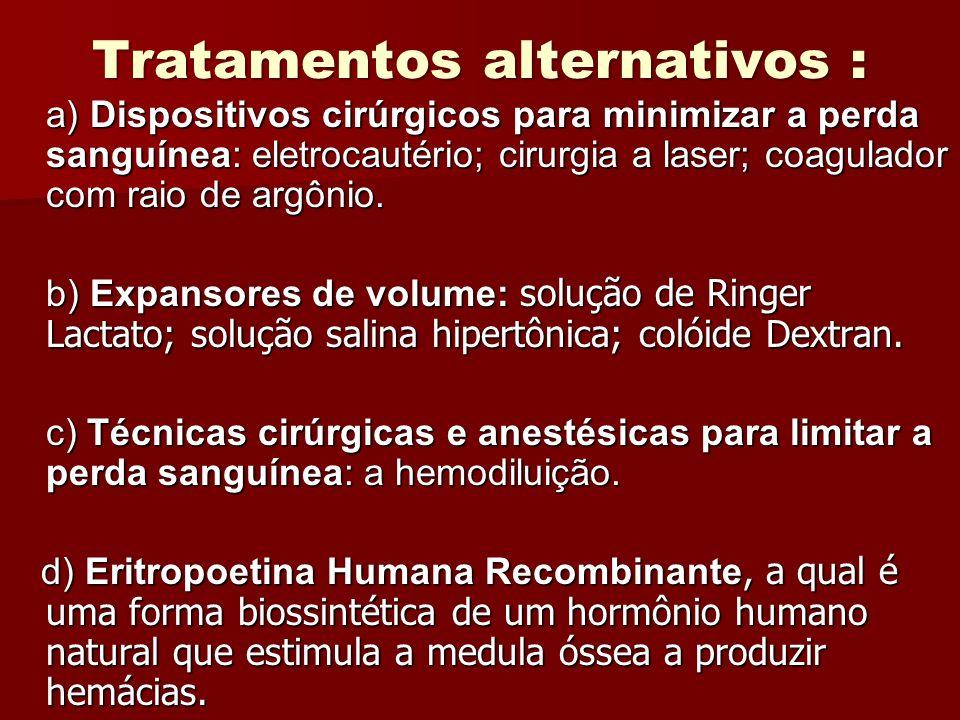 Tratamentos alternativos : a) Dispositivos cirúrgicos para minimizar a perda sanguínea: eletrocautério; cirurgia a laser; coagulador com raio de argôn