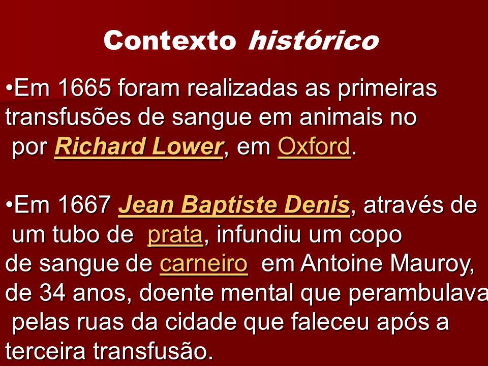 Em 1788, Pontick e Landois, obtiveram resultados positivos realizando transfusões homólogas, chegando à conclusão de que poderiam ser benéficas e salvar vidas.Em 1788, Pontick e Landois, obtiveram resultados positivos realizando transfusões homólogas, chegando à conclusão de que poderiam ser benéficas e salvar vidas.PontickLandoishomólogasPontickLandoishomólogas A primeira transfusão com sangue humano é atribuída a James Blundell, em 1818, que após realizar com sucesso experimentos em animais, transfundiu mulheres com hemorragias pós-parto.A primeira transfusão com sangue humano é atribuída a James Blundell, em 1818, que após realizar com sucesso experimentos em animais, transfundiu mulheres com hemorragias pós-parto.James Blundell1818hemorragias pós-partoJames Blundell1818hemorragias pós-parto