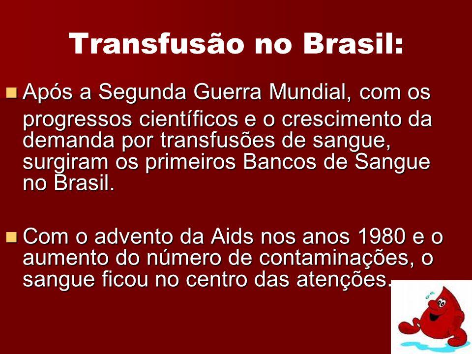 Transfusão no Brasil: Após a Segunda Guerra Mundial, com os Após a Segunda Guerra Mundial, com os progressos científicos e o crescimento da demanda po
