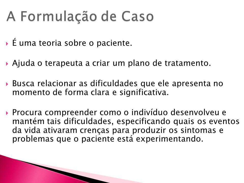 Possui cinco componentes: lista de problemas diagnóstico hipótese de trabalho pontos fortes e recursos plano de tratamento.