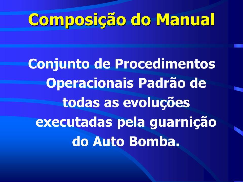 Composição do Manual Conjunto de Procedimentos Operacionais Padrão de todas as evoluções executadas pela guarnição do Auto Bomba.