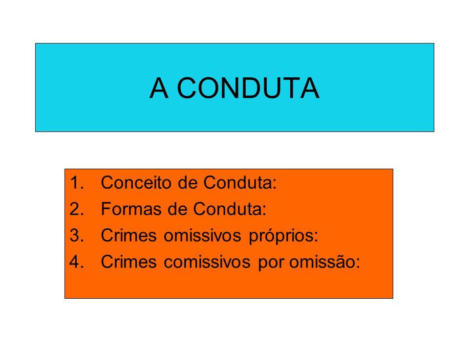 A CONDUTA 1.Conceito de Conduta: 2.Formas de Conduta: 3.Crimes omissivos próprios: 4.Crimes comissivos por omissão: