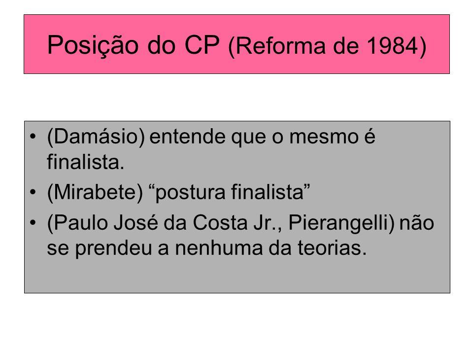 Posição do CP (Reforma de 1984) (Damásio) entende que o mesmo é finalista. (Mirabete) postura finalista (Paulo José da Costa Jr., Pierangelli) não se