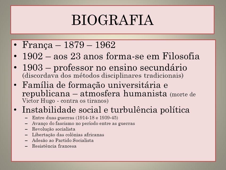 BIOGRAFIA França – 1879 – 1962 1902 – aos 23 anos forma-se em Filosofia 1903 – professor no ensino secundário (discordava dos métodos disciplinares tr