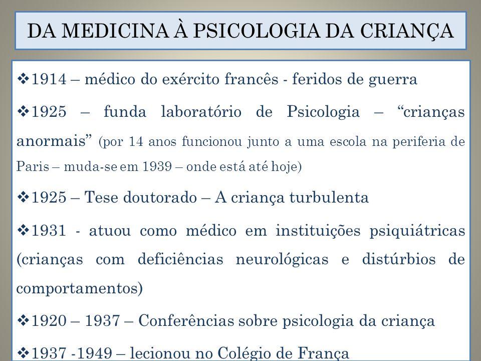 DA MEDICINA À PSICOLOGIA DA CRIANÇA 1914 – médico do exército francês - feridos de guerra 1925 – funda laboratório de Psicologia – crianças anormais (