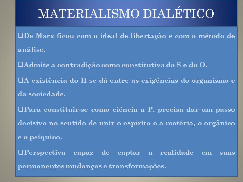 MATERIALISMO DIALÉTICO De Marx ficou com o ideal de libertação e com o método de análise. Admite a contradição como constitutiva do S e do O. A existê