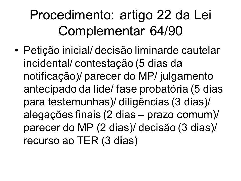Procedimento: artigo 22 da Lei Complementar 64/90 Petição inicial/ decisão liminarde cautelar incidental/ contestação (5 dias da notificação)/ parecer
