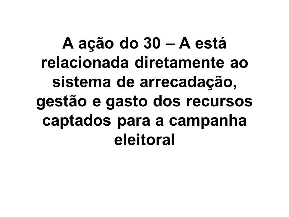 A ação do 30 – A está relacionada diretamente ao sistema de arrecadação, gestão e gasto dos recursos captados para a campanha eleitoral
