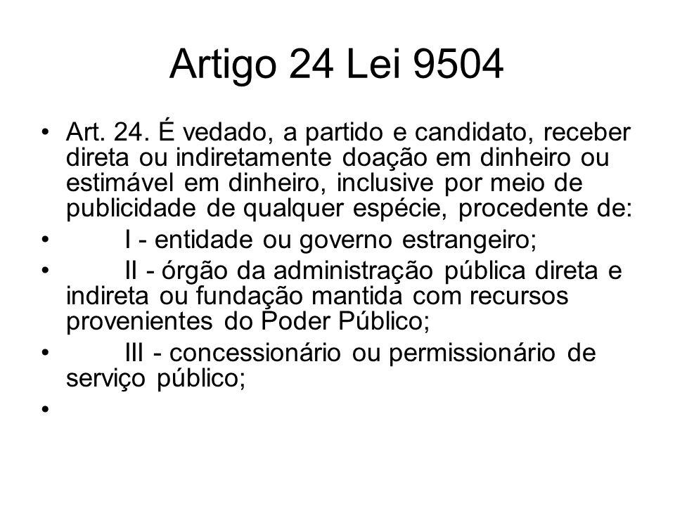 Artigo 24 Lei 9504 Art. 24. É vedado, a partido e candidato, receber direta ou indiretamente doação em dinheiro ou estimável em dinheiro, inclusive po