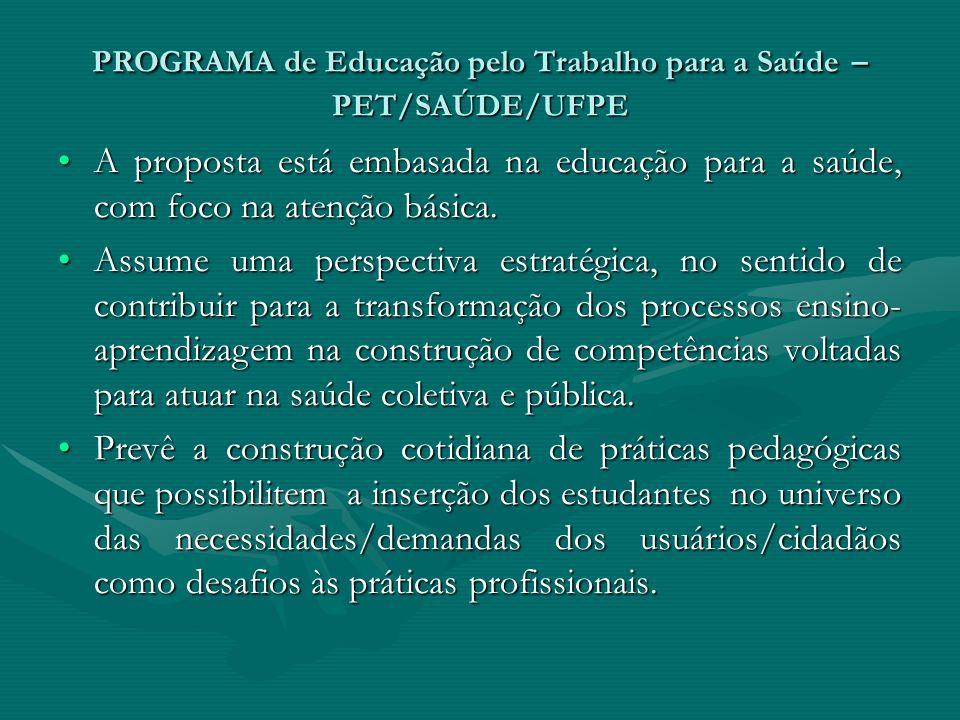 PROGRAMA de Educação pelo Trabalho para a Saúde – PET/SAÚDE/UFPE A proposta está embasada na educação para a saúde, com foco na atenção básica.A propo