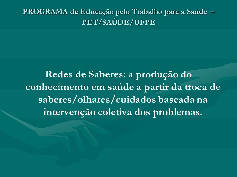 PROGRAMA de Educação pelo Trabalho para a Saúde – PET/SAÚDE/UFPE Redes de Saberes: a produção do conhecimento em saúde a partir da troca de saberes/ol