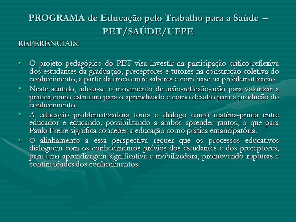 PROGRAMA de Educação pelo Trabalho para a Saúde – PET/SAÚDE/UFPE REFERENCIAIS: O projeto pedagógico do PET visa investir na participação crítico-refle