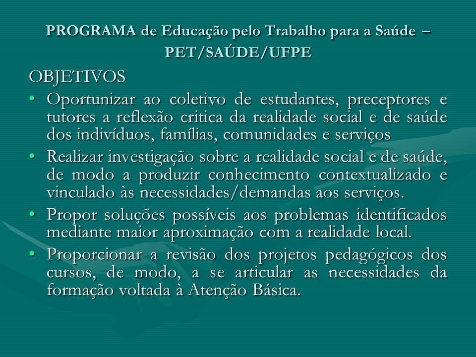 PROGRAMA de Educação pelo Trabalho para a Saúde – PET/SAÚDE/UFPE OBJETIVOS Oportunizar ao coletivo de estudantes, preceptores e tutores a reflexão cri