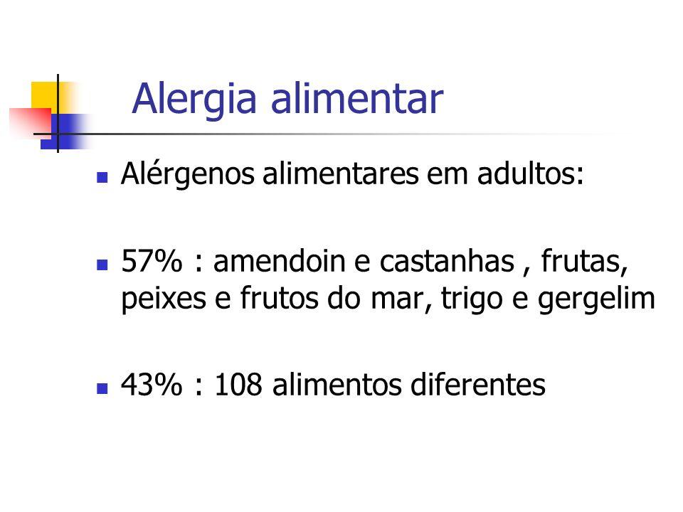 Alergia alimentar Alérgenos alimentares em adultos: 57% : amendoin e castanhas, frutas, peixes e frutos do mar, trigo e gergelim 43% : 108 alimentos d