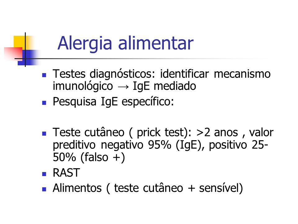 Alergia alimentar Testes diagnósticos: identificar mecanismo imunológico IgE mediado Pesquisa IgE específico: Teste cutâneo ( prick test): >2 anos, va