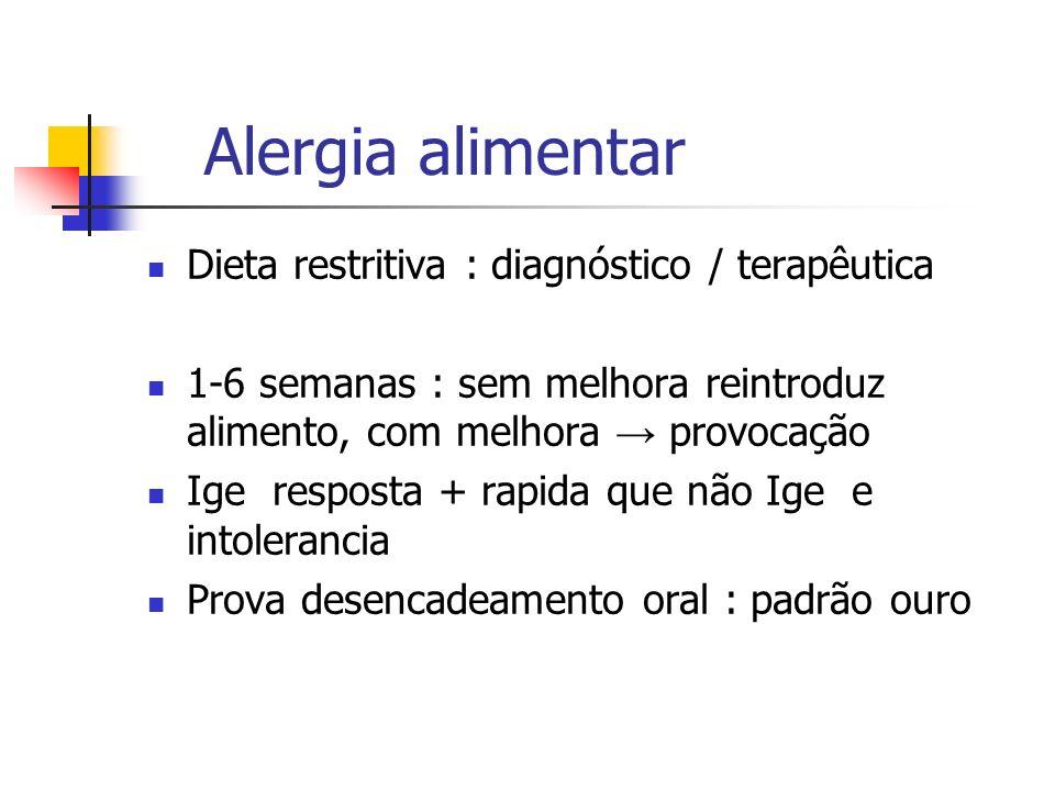 Alergia alimentar Dieta restritiva : diagnóstico / terapêutica 1-6 semanas : sem melhora reintroduz alimento, com melhora provocação Ige resposta + ra