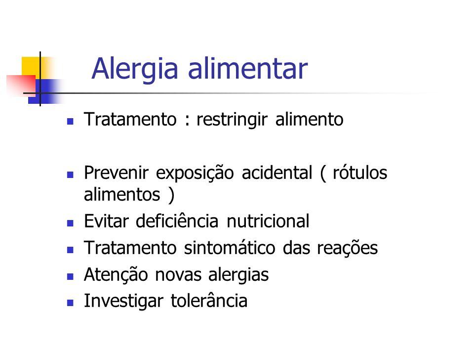 Alergia alimentar Tratamento : restringir alimento Prevenir exposição acidental ( rótulos alimentos ) Evitar deficiência nutricional Tratamento sintom