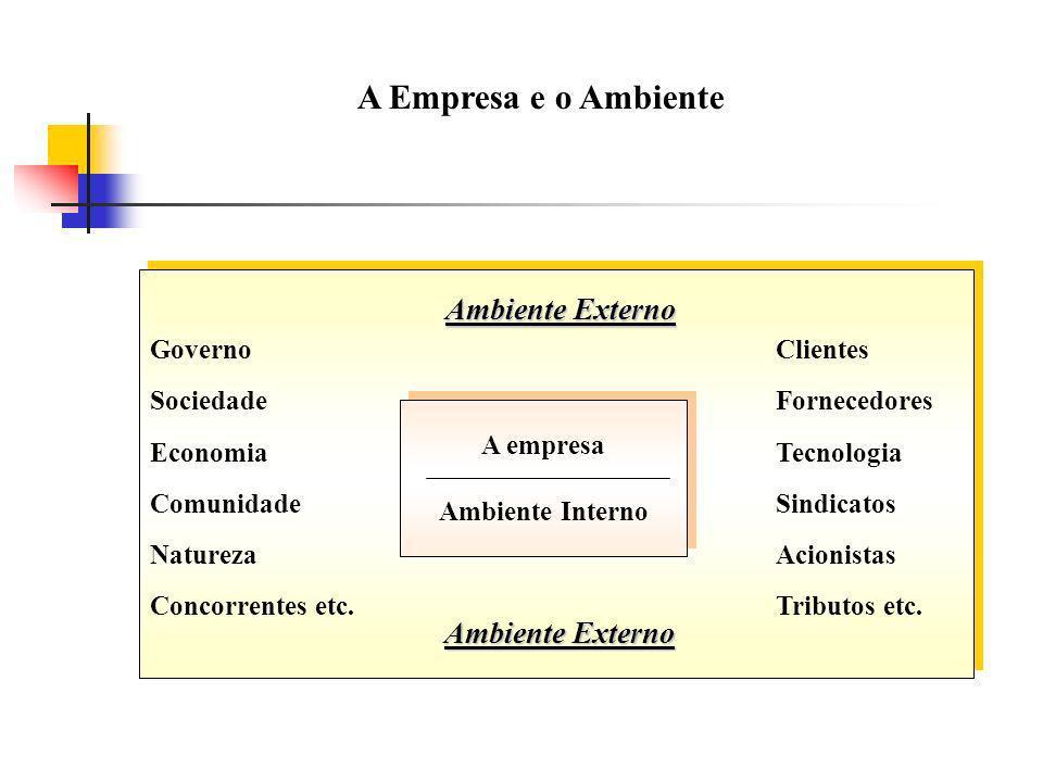 A Empresa e o Ambiente GovernoClientes SociedadeFornecedores EconomiaTecnologia ComunidadeSindicatos NaturezaAcionistas Concorrentes etc.Tributos etc.