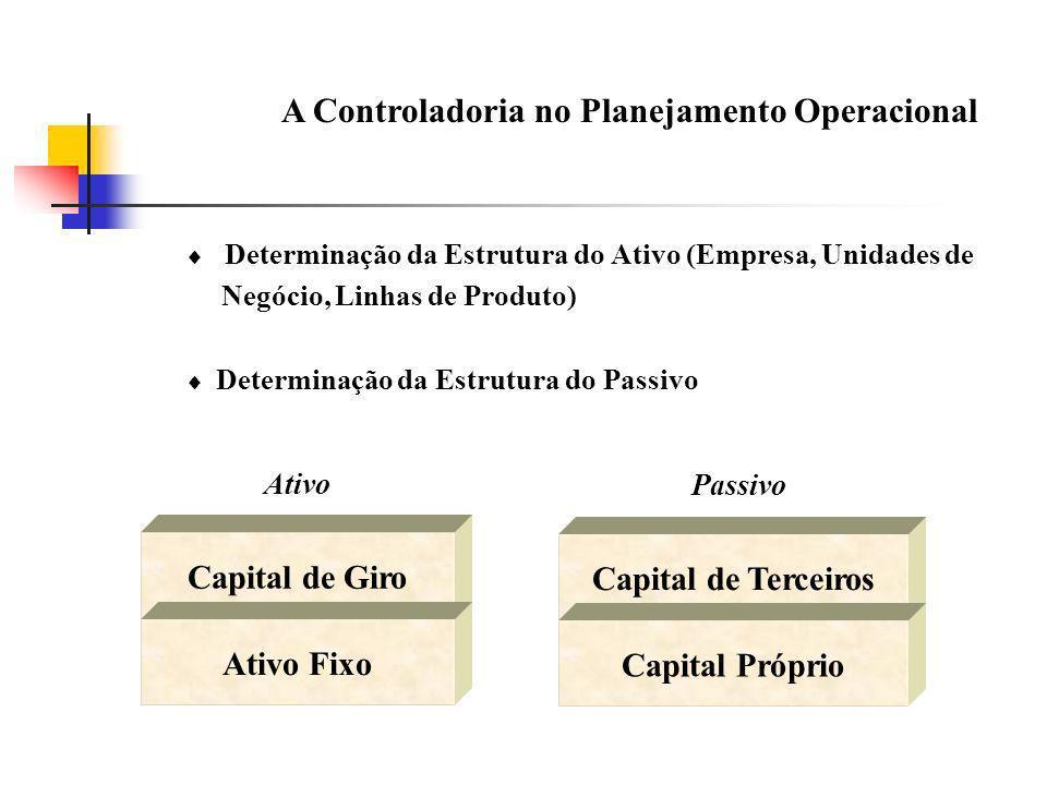 A Controladoria no Planejamento Operacional Determinação da Estrutura do Ativo (Empresa, Unidades de Negócio, Linhas de Produto) Determinação da Estru
