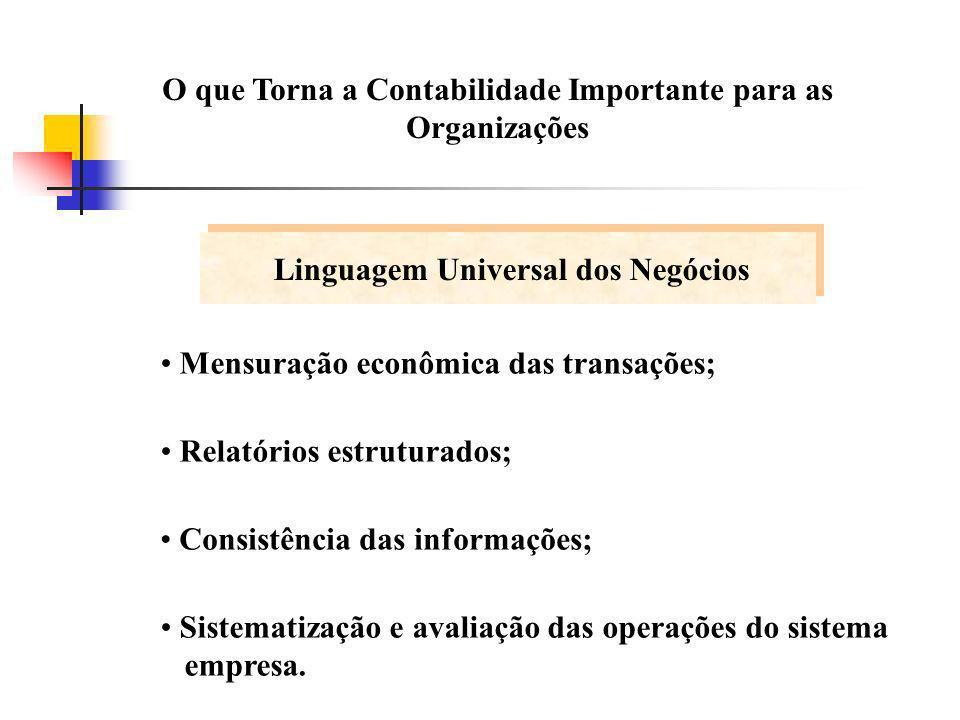O que Torna a Contabilidade Importante para as Organizações Mensuração econômica das transações; Relatórios estruturados; Consistência das informações