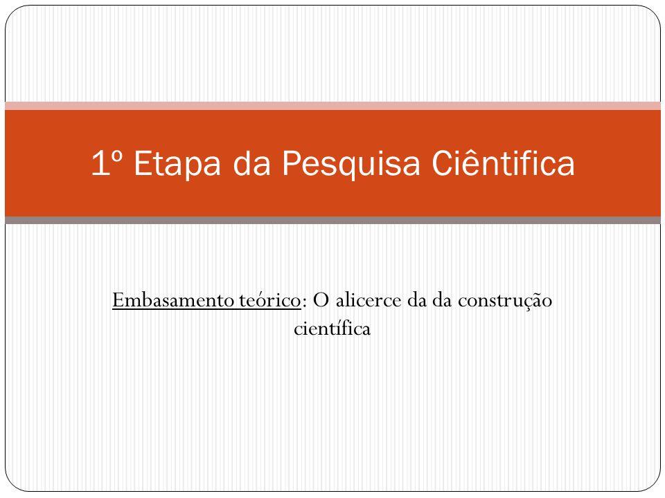 Embasamento teórico: O alicerce da da construção científica 1º Etapa da Pesquisa Ciêntifica