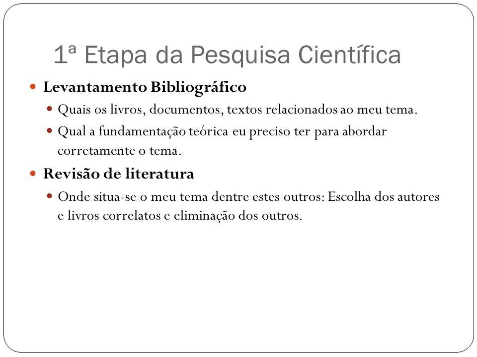 1ª Etapa da Pesquisa Científica Levantamento Bibliográfico Quais os livros, documentos, textos relacionados ao meu tema. Qual a fundamentação teórica
