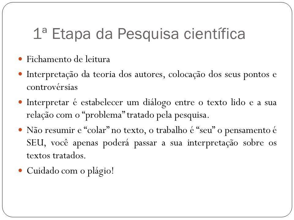 1ª Etapa da Pesquisa científica Fichamento de leitura Interpretação da teoria dos autores, colocação dos seus pontos e controvérsias Interpretar é est