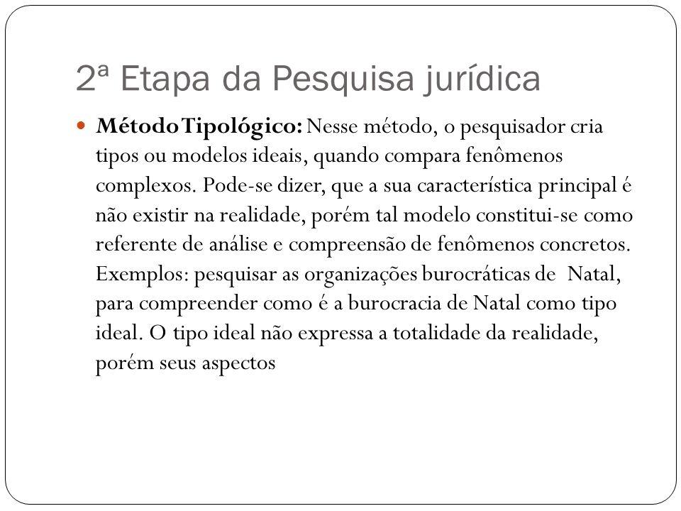 2ª Etapa da Pesquisa jurídica Método Tipológico: Nesse método, o pesquisador cria tipos ou modelos ideais, quando compara fenômenos complexos. Pode-se